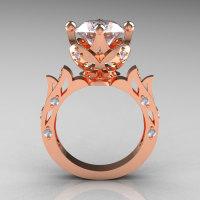 Modern Antique 14K Rose Gold 3.0 Carat Simulation Diamond Solitaire Wedding Ring R214-14KRGSD-1