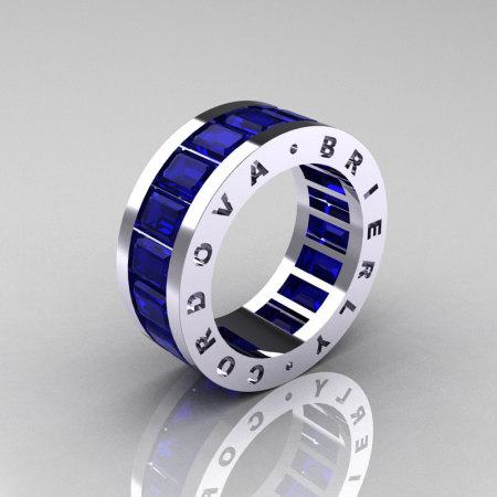 Mens Modern 10K White Gold Blue Sapphire Channel Cluster Infinity Wedding Band R174-10WGBS-1