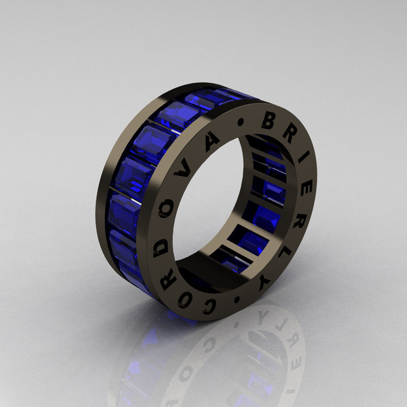 Mens Modern 14K Black Gold Blue Sapphire Channel Cluster Infinity Wedding  Band R174 14BGBS