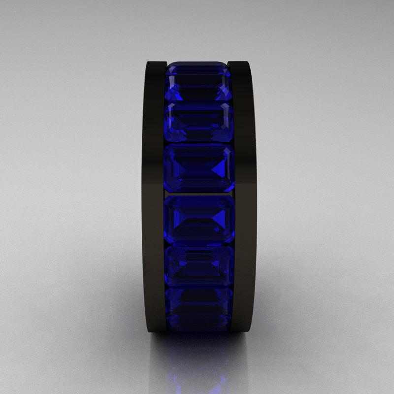 Mens Modern 14k Black Gold Blue Sapphire Channel Cluster
