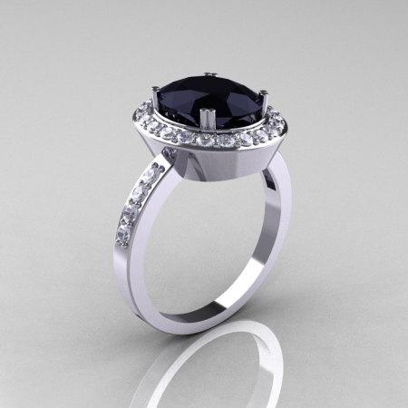 Classic 14K White Gold 2.5 Carat Oval Black Diamond Accent White Diamond Ring R72M-WGDBD-1