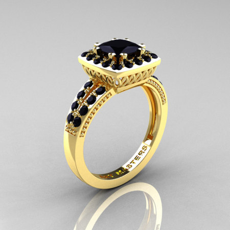 Classic 14K Yellow Gold 1.23 Carat Princess Black Diamond Solitaire Engagement Ring R220P-14KYGBD-1