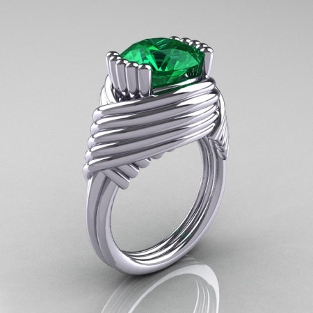 Modern Antique 14K White Gold 3.0 Carat Emerald Wedding Ring R211-14KWGEM-1