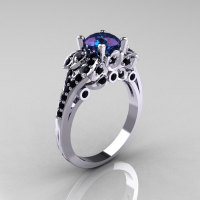 Classic 10K White Gold 1.0 CT Russian Alexandrite Black Diamond Solitaire Wedding Ring R203-10KWGBDAL-1