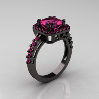 Modern Art-Deco 14K Black Gold 2.0 Carat Princess Pink Sapphire Solitaire Wedding Ring R223-14KBGPS-1