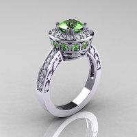 14K White Gold 1.0 Carat Green Topaz Diamond Wedding Ring Engagement Ring R199-14KWGDGT-1