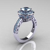10K White Gold 1.0 Carat Aquamarine Wedding Ring Engagement Ring R199-10KWGAQ-1