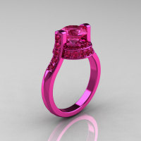 Modern Italian 14K Pink Gold 1.5 CT Pink Sapphire Wedding Ring Engagement Ring AR119-14KPGPS-1