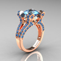 Aphrodite - French Vintage 14K Rose Gold 3.0 CT Blue Topaz Pisces Wedding Ring Engagement Ring Y228-14KRGBT-1