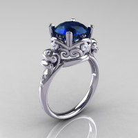 Modern Vintage 18K White Gold 2.5 Carat London Blue Sapphire Diamond Wedding Engagement Ring R167-18KWGDLBS-1