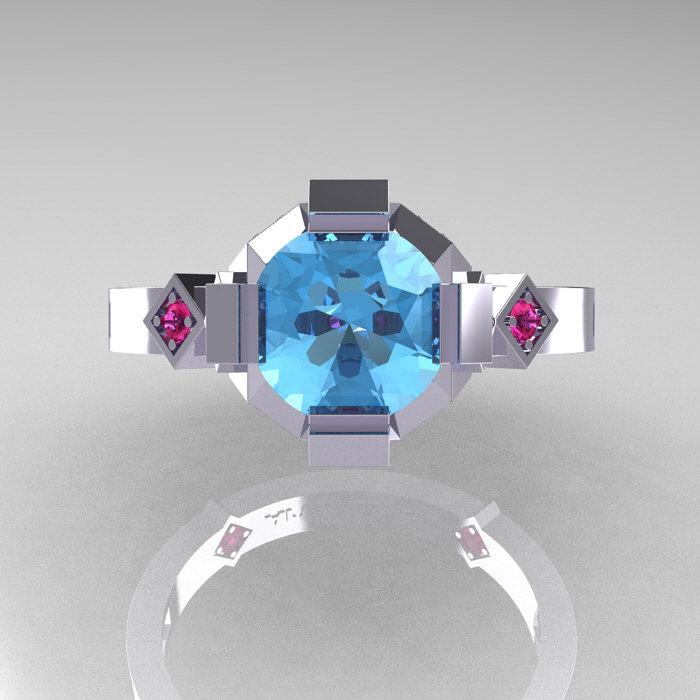 Modern Armenian Bridal 10K White Gold 1 0 Blue Topaz Pink Sapphire  Solitaire Ring R240-10KWGPSBT