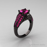 Aztec Edwardian 14K Black Gold 1.0 CT Pink Sapphire Engagement Ring R001-14KBGPS-1