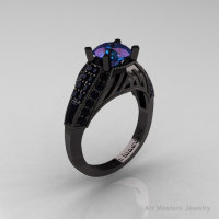 Aztec Edwardian 14K Black Gold 1.0 CT Russian Chrysoberyl Alexandrite Black Diamond Engagement Ring R001-14KBGBDAL-1