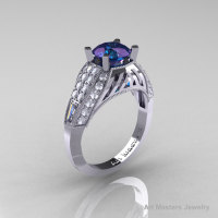 Aztec Edwardian 14K White Gold 1.0 CT Russian Chrysoberyl Alexandrite Diamond Engagement Ring R001-14KWGDAL-1