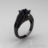Aztec Edwardian 14K Black Gold 1.0 CT Black Diamond Engagement Ring R001-14KBGBD-1