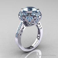 Modern Edwardian 18K White Gold Aquamarine Engagement Ring Wedding Ring Y404-18KWGAQ-1