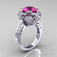 Modern Edwardian 14K White Gold 3.0 Carat Pink Sapphire Diamond Engagement Ring Wedding Ring Y404-14KWGDPS-1