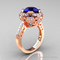Modern Edwardian 14K Rose Gold 3.0 Carat Blue Sapphire Diamond Engagement Ring Wedding Ring Y404-14KRGDBS-1