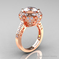 Modern Edwardian 14K Rose Gold 3.0 Carat White Sapphire Diamond Engagement Ring Wedding Ring Y404-14KRGDWS-1