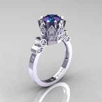 Classic Armenian 14K White Gold 1.0 Alexandrite Diamond Bridal Solitaire Ring R405-14KWGDAL-1
