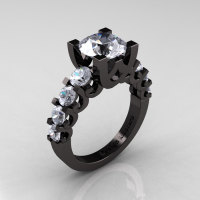 Modern Vintage 14K Black Gold 3.0 Carat White Sapphire Designer Wedding Ring R142-14KBGWS-1