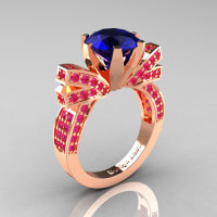 French 14K Rose Gold 3.0 CT Blue and Pink Sapphire Engagement Ring Wedding Ring R382-14KRGPBS-1