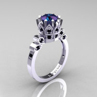 Classic Armenian 14K White Gold 2.0 Alexandrite Black Diamond Bridal Solitaire Ring R405-14KWGBD2AL-1