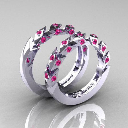 Modern Italian 14K White Gold Pink Sapphire Wedding Band Set R320BS-14KWGPS-1