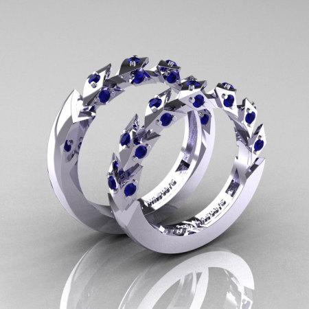 Modern Italian 14K White Gold Blue Sapphire Wedding Band Set R320BS-14KWGBS-1