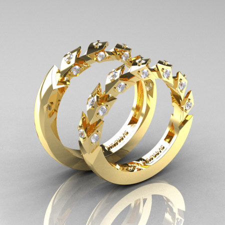 Modern Italian 14K Yellow Gold Diamond Wedding Band Set R320BS-14KYGD-1