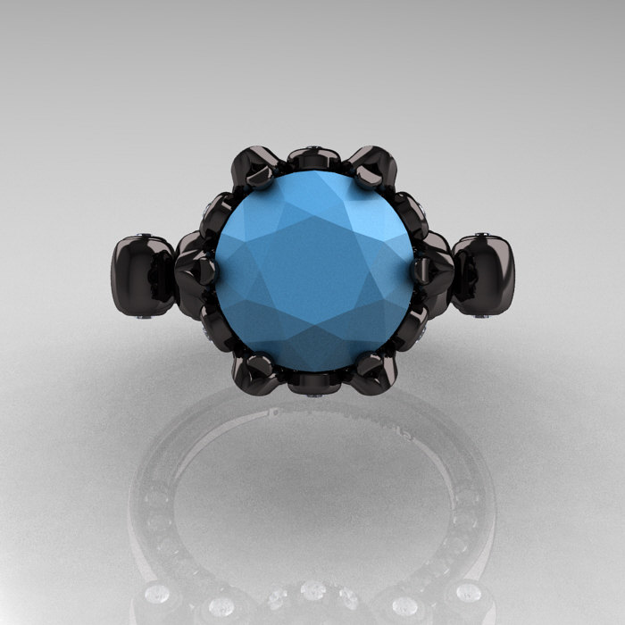 French Antique 14K Black Gold 3.0 Carat Sleeping Beauty Turquoise ...