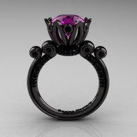 French Antique 14K Black Gold 3.0 CT Amethyst Black Diamond Solitaire Wedding Ring Y235-14KBGBDAM-1