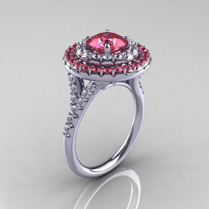 Clic Soleste 14k White Gold 1 0 Ct Light Tourmaline Diamond Ring R236a 14kwgdlt