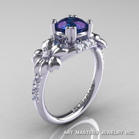 Nature Inspired 14K White Gold 1.0 Ct Alexandrite Diamond Leaf and Vine Engagement Ring R245-14KWGDAL-1