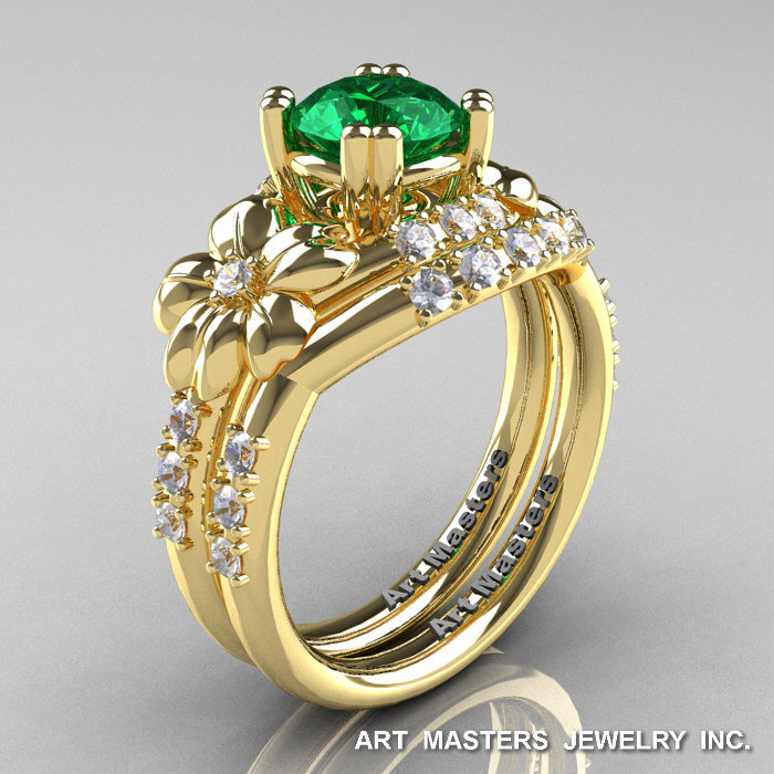 7c14f4afa36 Nature Inspired 14K Yellow Gold 1.0 Ct Emerald Diamond Leaf and Vine  Engagement Ring Wedding Band