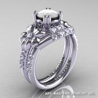 Nature Inspired 14K White Gold 1.0 Ct White Agate Diamond Leaf and Vine Engagement Ring Wedding Band Set R245S-14KWGDWA-1