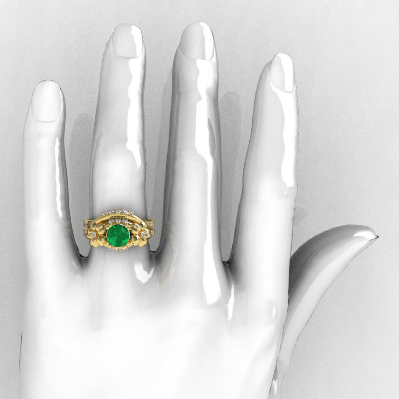 78d6f29eff2 ... Nature Inspired 14K Yellow Gold 1.0 Ct Emerald Diamond Leaf and Vine  Engagement Ring Wedding Band