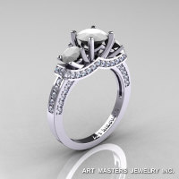 French 14K White Gold Three Stone White Agate Diamond Engagement Ring R182-14KWGDWA-1