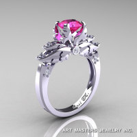 Classic 14K White Gold 1.0 Ct Pink Sapphire Diamond Solitaire Engagement Ring R482-14KWGDPS-1
