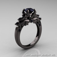 Classic 14K Black Gold 1.0 Carat Black Diamond Solitaire Engagement Ring R482-14KBGBD-1