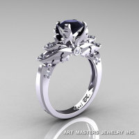 Classic 14K White Gold 1.0 Ct Black and White Diamond Solitaire Engagement Ring R482-14KWGDBD-1
