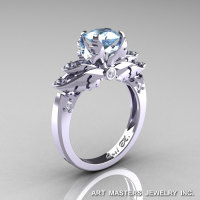 Classic 14K White Gold 1.0 Ct Aquamarine Diamond Solitaire Engagement Ring R482-14KWGDAQ-1