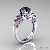 Classic Blazer 14K White Gold 1.0 Ct Black Diamond Rubies Solitaire Engagement Ring R482-14KWGBDR-1