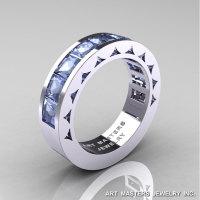 Mens Modern 14K White Gold Princess Aquamarine Channel Cluster Sun Wedding Ring R274-14WGAQ-1