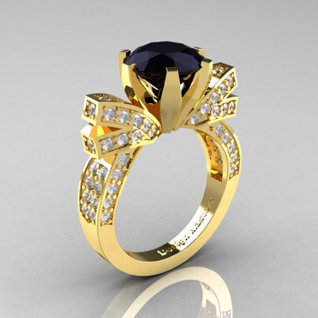French 14K Yellow Gold 3.0 CT Black Diamond Engagement Ring Wedding Ring R382-14KYGDBD-1