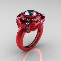 Art Masters Classic 14K Red Gold 1.0 Carat Aquamarine Engagement Ring R70M-14KREGAQ-1