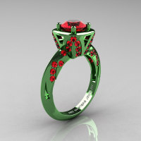 Classic French Military 14K Green Gold 1.0 Ct Rubies Engagement Ring Wedding Ring R502-14KGGR-1