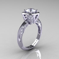 Classic French 14K White Gold 1.0 Carat White Sapphire Diamond Engagement Ring Wedding RIng R502-14KWGDWS-1
