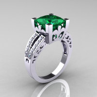 French Vintage 14K White Gold 3.8 Carat Princess Emerald Diamond Solitaire Ring R222-WGDEM-1