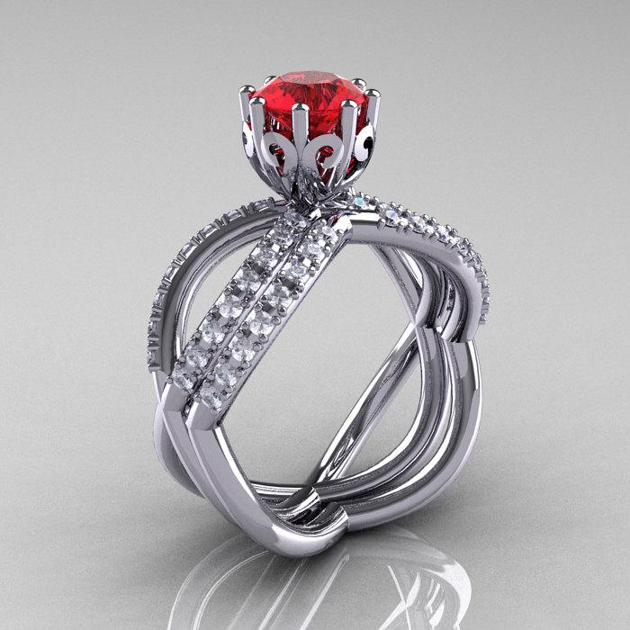 14k White Gold Blue Sapphire Diamond Unusual Unique Vine Engagement